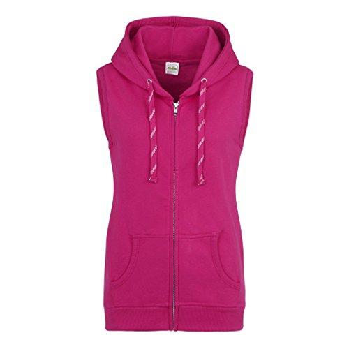 Awdis Just Hoods Womens/Ladies Girlie Sleeveless Full Zip Hoodie (12 US) (Hot Pink) ()