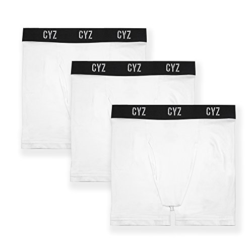 CYZ Men's 3-PK Cotton Stretch Boxer Briefs-White-L (Whites Stretch Briefs)
