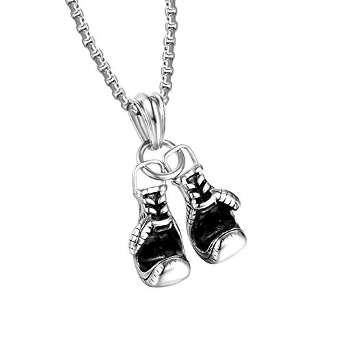 JczR.Y Punk Boxing Gloves Necklace Pendant Vintage Hiphop Stainless Steel Fighting Gloves Necklace for Brave Blood Men Fashion Jewelry (Anti-Silver)