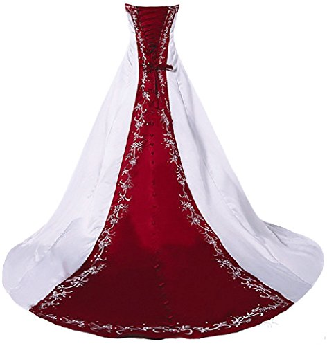 RohmBridal Women's Embroidery Wedding Dress Bridal Gown White & Burgundy 12
