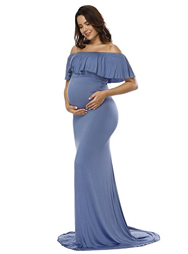 JustVH Maternity Off Shoulder Ruffles Elegant Fitted Gown Slim Fit Maxi Photography Dress for Photoshoot