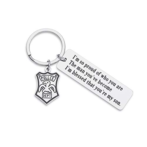 Police Officer Keychain Gifts For Son Policeman Sheriff's Graduation Gifts From Dad Mom To Son Officer Gifts For Him Key Ring Tag I'm So Proud Of Who You Are Keychain Police Badge Charm