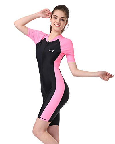 BIKMAN One-Piece Snorkeling Surfing Swim Suit Short Sleeves Plus Size Swimwear- Sun Protection (M(Weight:115.5lbs-137.5lbs), ()