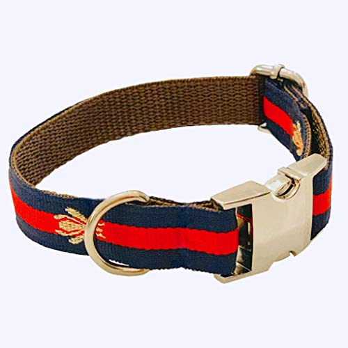 """Designer Inspired Dog Collar in Navy Blue with embroidered Bee and Gold Buckle Comfortable Safe and fully Adjustable -""""The Navy Poochie Collar"""""""