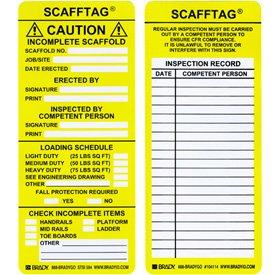 SCAFFTAG STD Inserts 3 1//4X7 5//8 Yellow Pack of 10 Tags