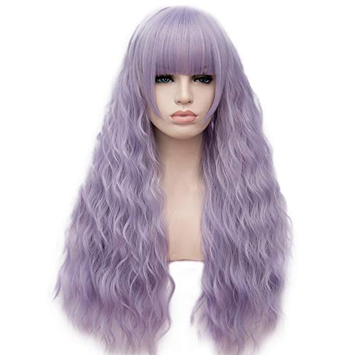 BERON 27'' Women Girls Lovely Synthetic Mix Color Long Curly Wigs Pin Curls with Neat Bangs Hairnet Included (Silver Purple) ()
