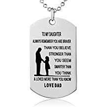 Hand Stamped Dog Tag-You Are Braver Than You Believe-Pendant Necklace Inspirational Gifts For Son Daughter