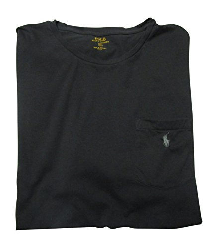 Polo Ralph Lauren Mens' Big and Tall T-Shirt Jersey Crew Neck Pocket T-Shirt (2XLT, Black / Grey Pony)