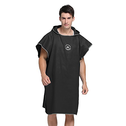 MINGPINHUIUS Bathrobe Towel for Adults Women Mens 8 Pure Colors Optional Swim Towels Poncho Quick Dry Beach Changing Robe, Standard Size Fit All (Black)