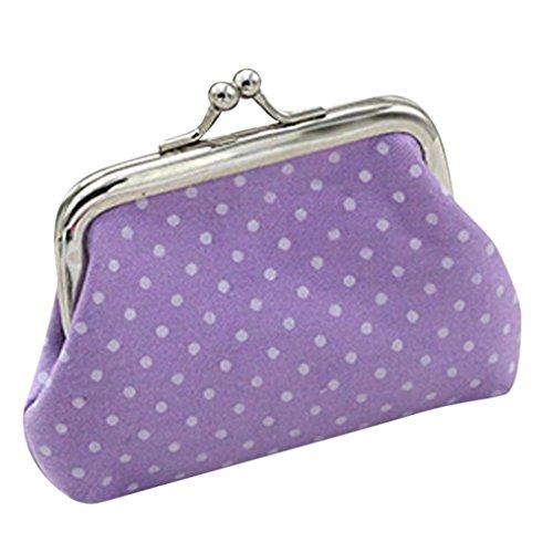 Clearance Small Wallet for Women Girls Polka Dot Mini Coin Purse Kiss-lock Card Holder Change Pouch (9X7cm, Purple)
