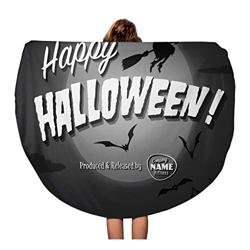 (Pinbeam Beach Towel Retro Movie Ending Screen Happy Halloween Vintage Witch Travel 60 inches Round Tapestry Beach)