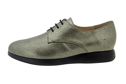 Calzado mujer confort de piel Piesanto 7632 zapato cordón casual cómodo ancho Carbon