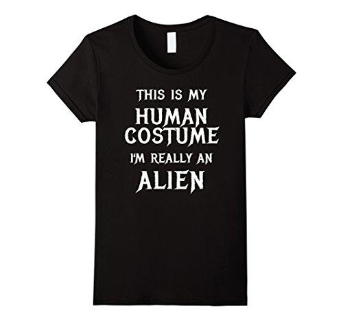 Womens Alien Halloween Costume Shirt Easy Funny for Men Boys Girls XL Black