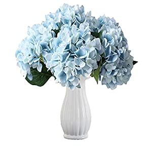 Packozy 3 PCS Artificial Hydrangea Flowers Fake Silk Bouquet Flowers for Home,Wedding,Room, Hotel, Party Decor(Blue) 35
