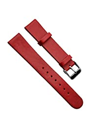 22mm Vintage Regular Replacement Genuine Leather Silver Buckle Watch Strap/Watch Band (Paint Edge/Red)