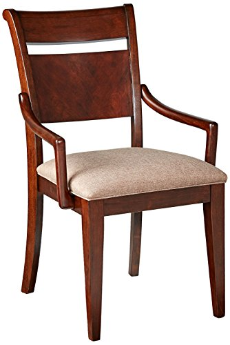 FURNITURE@HOME Indigo Collection Arm Chair, Set of 2, Cherry - Hand selected hardwood solids and quality craftsmanship means sturdy construction for long-lasting wear Comes with a set of 2, decorated in top selected walnut veneer Hand-placed cherry grain inlay design - kitchen-dining-room-furniture, kitchen-dining-room, kitchen-dining-room-chairs - 41ooyDpIyoL -