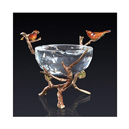 YANGRUOTONG Glass Ashtray, Ashtray Crystal Inlaid Copper Ashtray Ornament Bird Ornaments, Cigarette Ashtray for Outdoor, Terrace Or Indoor, - Accents Inlaid Glass