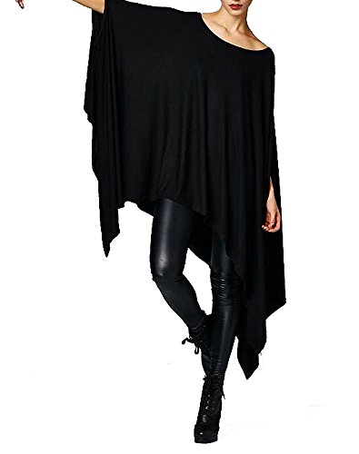 Vivicastle Women's Loose Bat Wing Dolman Poncho Tunic Dress Top (One Size, Black)