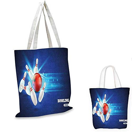 Bowling Party Decorations shopping bag storage pouch Bowling Strike Red Ball and Classical Pins Vivid Composition canvas tote bagRed Aqua Blue. 13