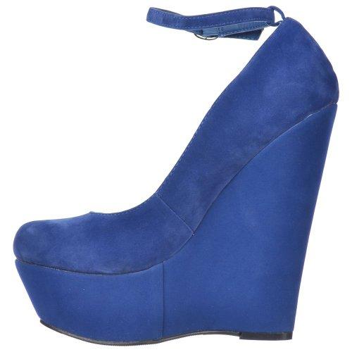 suède Chaussures de cale Onlineshoe à suède daim bleues cheville de dames bride bleues Femmes Plateforme la de bleu qq64Ra