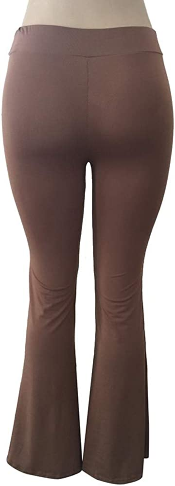 MERICALe Donne Moda Solid Elasticit/à Leggings Pantaloni a Zampa delefante