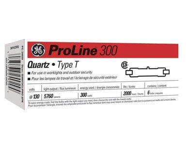 GE Lighting 24929 Proline300 Halogen T3 130V 300-Watt Light Bulb, 6-Pack