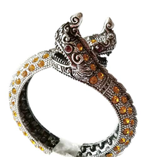 Thai Silver Snake - PunPund Bracelet Silver Plated Thai 2 Headed Dragon Snake Naga Payanark Yellow Color Stone & Red Eyes Adjustable Size in Jewelry Red Bag for Men Women 1 Pc.