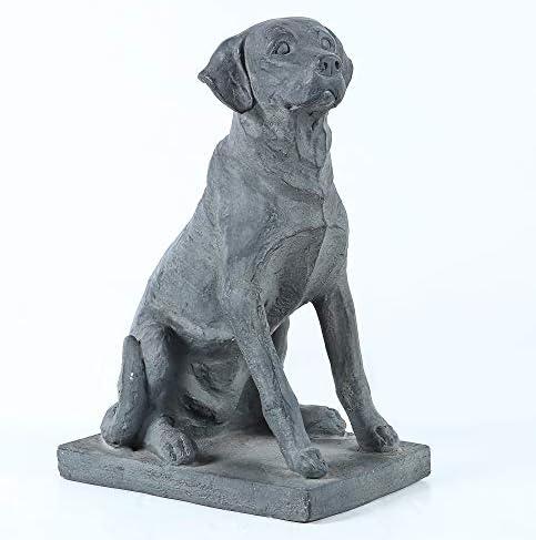 Winsome House 16.9″ Gray Labrador Retreiver Dog on Rectangular Base Garden Statue