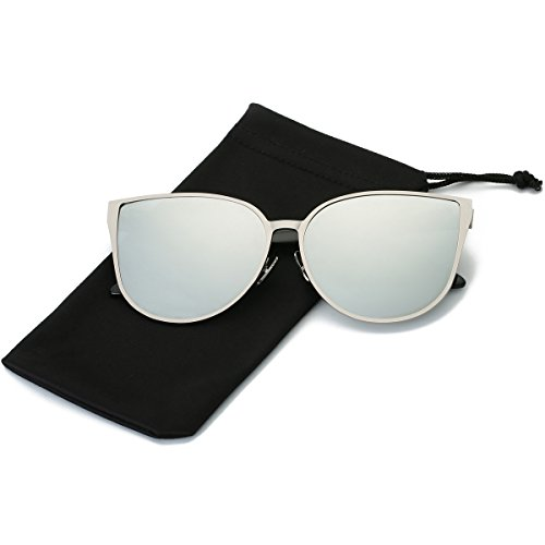 LKEYE Oversized Cat eye Sunglasses Metal Frame Mirror Lens Eyewear LK1704 Silver Frame/Silver - Coating Sunglasses Mirror