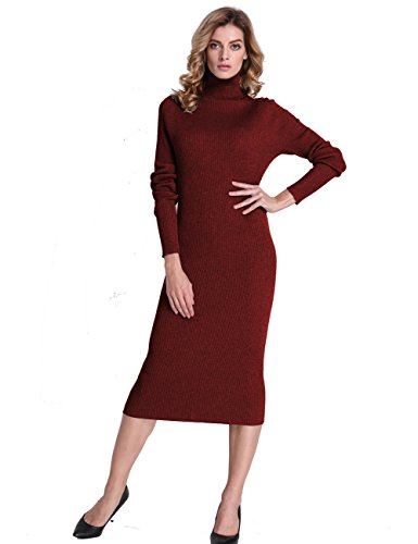 bc03b176596 PrettyGuide Women Slim Fit Ribbed Turtleneck Long Sleeve Maxi Knit Sweater  Dress