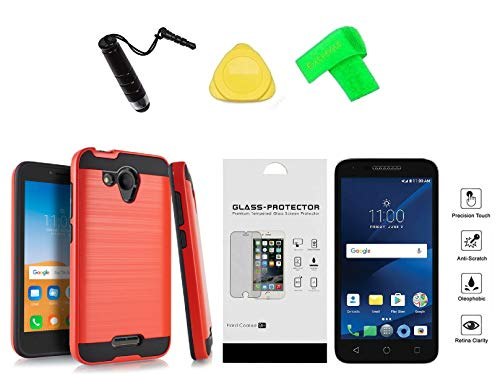 Metallic Brushed Hybrid Cover Phone Case + Screen Protector + Extreme Band + Stylus Pen + Pry Tool for Alcatel Raven LTE A574BL (Red)