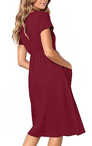 Vestito V In Con Casuale Rosso Collo Corte A Pulsante Giù Midi Sole Abiti Maniche Donne Tasche Vino 0HRXzxq