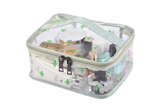 WODISON Cute Printed Clear Cosmetic Bag Travel Makeup Train Case Organizer with Top Handle