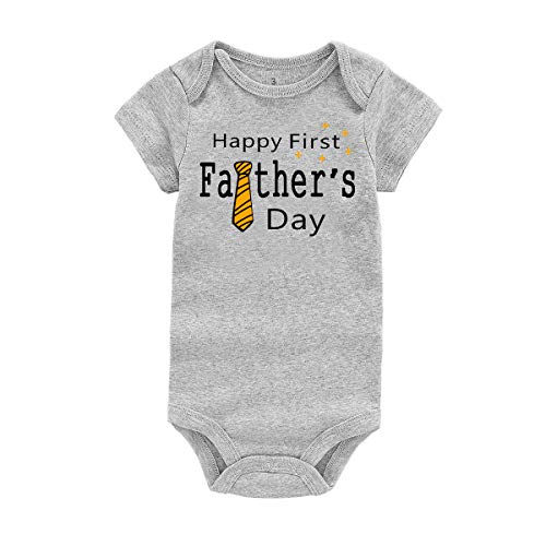 WINZIK Happy 1st Father's Day Baby Bodysuit Romper Outfit Clothing Newborn Infant Boy Girl One-Piece Jumpsuit Shirt (3 Months, Grey-Tie)