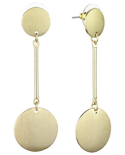 Satin Pierced Earrings - Women's Geometric Flat Round Circle Drop Pierced Earrings, Satin Gold-Tone