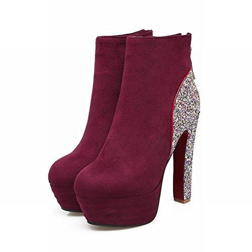 Mee Shoes Damen Reißverschluss Plateau Pailleten kurzschaft Ankle Boots Rot
