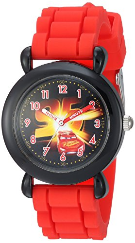 Disney Boy's 'Cars 3' Quartz Plastic and Silicone Casual Watch, Color:Red (Model: WDS000453)
