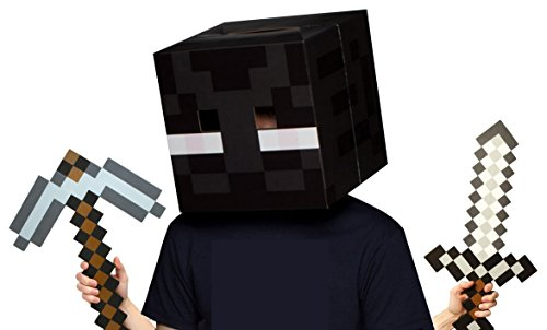 Official Minecraft Enderman Head with Foam Sword & Pickaxe Costume (Enderman Mask)