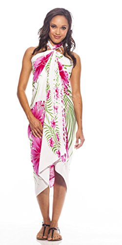 1 World Sarongs Womens Hawaiian Swimsuit Cover-Up Sarong in -