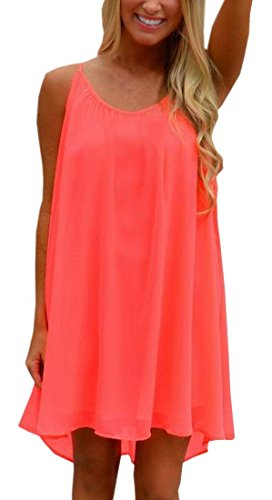 ReachMe Womens Summer Sexy Vibrant Color Chiffon Bathing Suit Cover Up(3 Solid Coral L)