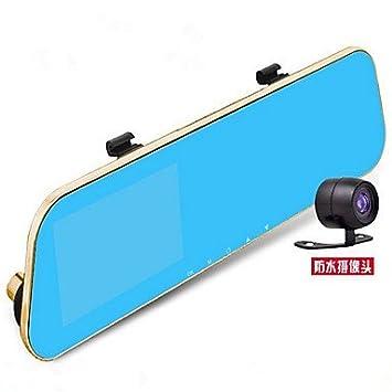 Qige espejo retrovisor Espejo retrovisor de tacógrafo con doble azul anti cadena 4 3 inch Protector