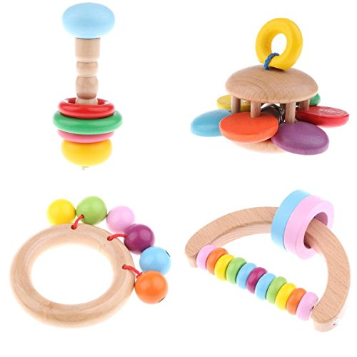 Homyl Pack Of 4 Wood Montessori Styled Baby Rattles Grasping Toy for Baby Toddlers by Homyl