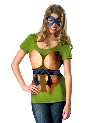 [Teen Green Ninja Turtle Costume Leonardo Superhero TMNT Easy Theatrical Costume] (Ninja Turtle Female Costumes)