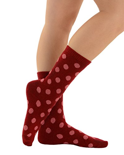 Cashmere Blend Socks - Polka Dot Crew Socks Print Cashmere Blend 13 Color Choices Great Gift Idea Color:: Red/Pink