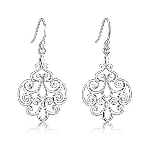 (Sterling Silver Filigree Dangle Drop Chandelier Earrings For Sensitive Ears By Renaissance Jewelry)