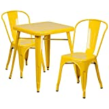 Winston Direct's Leisure Series 24'' Square Metal Table Set with 2 Stack Chairs - Yellow Metal Table Set