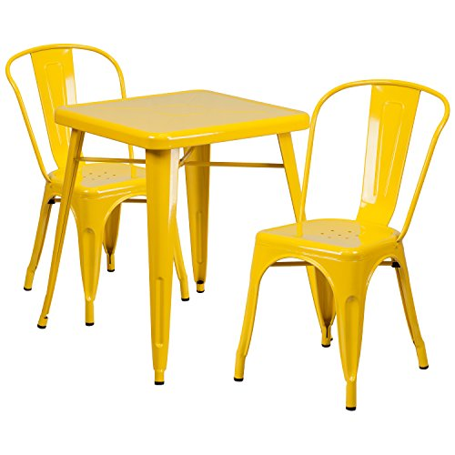 Flash Furniture 23.75'' Square Yellow Metal Indoor-Outdoor Table Set with 2 Stack Chairs Patio Furniture Stack Chairs
