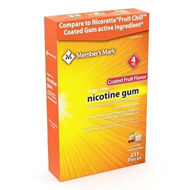 Member's Mark 4mg Nicotine Gum, Coated Fruit Flavor (231 ct.) AS