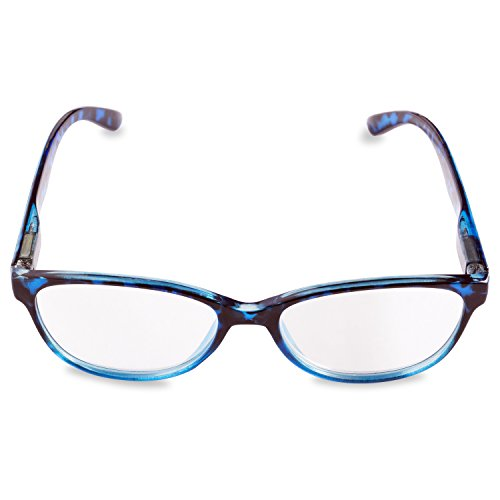 Inner Vision Women's Reading Glasses w/ Spring Hinges & Case - (2.0 x Magnification) - Blue & Grey Tortoise