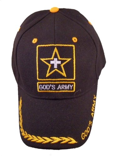 - God's Army Christian Baseball Cap, Black Hat with Cross Inside of Gold Star